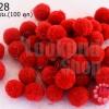ปอมปอมไหมพรม สีแดงสด 1 ซม. (100 ลูก)