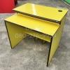 """โต๊ะคอมพิวเตอร์ต่างระดับตัวล่ะ 1180 บาท T-114 เหลือง/ขอบดำ """"เมลามีน"""""""