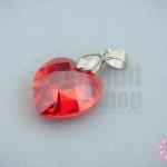 จี้หินมณีใต้น้ำ(เพชรพญานาค) หัวใจ สีแดงสด 18X28มิล(1ชิ้น)