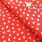 คอตตอน ญี่ปุ่นลาย ลายแอปเปิ้ล พื้นแดง น่ารักมากค่ะ ตัดเสื้อได้
