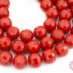 คริสตัลจีน ทรงกลมเจียร สีแดงขุ่น 10มิล(1เส้น)