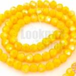 คริสตัลจีน ทรงกลมเจียร สีเหลืองเข้มขุ่น 4มิล(1เส้น)