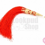 พู่ไหมยาว สีแดง จุกแหลม ยาว 8.5 ซม.(1ชิ้น)