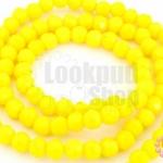 คริสตัลจีน ทรงกลมเจียร สีเหลืองมะนาวขุ่น 4มิล(1เส้น)
