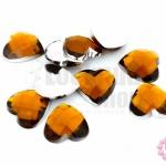 เพชรแต่ง หัวใจ สีน้ำตาลเข้ม ไม่มีรู 14มิล(10ชิ้น)
