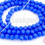 คริสตัลจีน ทรงกลมเจียร สีฟ้าเข้มขุ่น 4มิล(1เส้น)