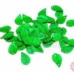 เลื่อมปัก ใบไม้ สีเขียวดิสโก้ 9X16มิล(5กรัม)