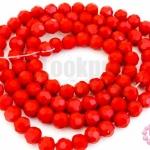 คริสตัลจีน ทรงกลมเจียร สีแดงเข้มขุ่น 4มิล(1เส้น)