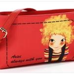 กระเป๋าแฟชั่นวัยรุ่น หนัง pu แบรนด์ axixi สีส้มลายกาตูน