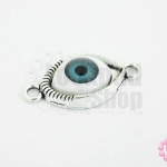 จี้รูปดวงตา ฐานสีเงินนัยตาสีฟ้า 15X30มิล(1ชิ้น)