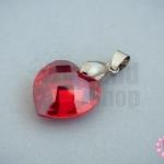 จี้หินมณีใต้น้ำ(เพชรพญานาค) หัวใจ สีแดงเข้ม 18X28มิล(1ชิ้น)