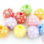 ลูกปัดพลาสติก คละสี ลูกบอล 11มิล(1ขีด)