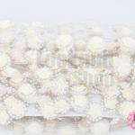 เพชรแถวแต่ง ดอกกุหลาบ สีครีม 22มิล (1หลา/90ซม)