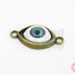 จี้รูปดวงตา ฐานสีทองเหลืองนัยตาสีฟ้า 15X30มิล(1ชิ้น)