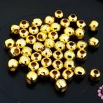 ลูกปัดโลหะ สีทอง กลม 5มิล (1ขีด)