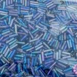 ลูกปัดจีน ปล้องยาว สีน้ำเงินเหลือบรุ้ง 2X7มิล(1ถุง)