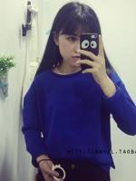 เสื้อแฟขนยาวสีน้ำเงิน