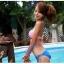 พร้อมส่ง ชุดว่ายน้ำ Bikini ผูกข้าง สายคล้องคอ บราลายสก็อตสีชมพูขาว thumbnail 2