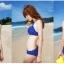 พร้อมส่ง ชุดว่ายน้ำบิกินี่ เซ็ต 4 ชิ้น สีน้ำเงินแต้มจุดขาว ขายพร้อม เสื้อคลุม+กางเกงขาสั้นลายขวางสีขาวน้ำเงินสวยๆ thumbnail 8