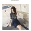 เสื้อแฟชั่นเกาหลี แขน 2 สวย แต่งแขนด้วยผ้าแก้วแต่งโบว์น่ารัก ๆ สีดำ thumbnail 3