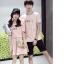 เสื้อคู่รัก แฟชั่นคู่รัก ชายเสื้อยืดคอกลม + เสื้อยืดคอกกลม สีชมพู แต่งลาย พร้อมกระโปรงสีชมพู +พร้อมส่ง thumbnail 6