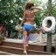 พร้อมส่ง ชุดว่ายน้ำ Bikini ผูกข้าง สายคล้องคอ บราลายสก็อตสีชมพูขาว thumbnail 3