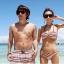พร้อมส่ง ชุดว่ายน้ำคู่รัก ชุดว่ายน้ำบิกินี่ทูพีซ อกบิดเกลียวสายคล้องคอ สไตล์โบฮีเมียนโทนสีแดง-กรมท่าสวย thumbnail 1