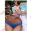 พร้อมส่ง ชุดว่ายน้ำ Bikini ผูกข้าง สายคล้องคอ บราลายสก็อตสีชมพูขาว thumbnail 4