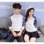 เสื้อแขนยาวคู่รัก เสื้อผ้าแฟชั่น ชาย +หญิง เสื้อแขนยาว สีขาว แต่งแขนลายกุหลาบ +พร้อมส่ง+ thumbnail 12
