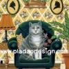 กระดาษสาพิมพ์ลาย สำหรับทำงาน เดคูพาจ Decoupage แนวภาพ แมวตัวใหญ่นั่งโซฟา หมาตัวยาวนอนเป็นพรม