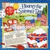 กระดาษสาพิมพ์ลาย สำหรับทำงาน เดคูพาจ Decoupage แนวภาำพ วันพักผ่อนสบายๆ Hooray for summer days กับ สูตรทำขนม All American trifle สีสด (ปลาดาวดีไซน์)