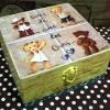 กล่องไม้สนมีล๊อค ลายหมีน้อยทั้ง 4