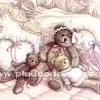 กระดาษสาพิมพ์ลาย rice paper เป็น กระดาษสา สำหรับทำงาน เดคูพาจ Decoupage แนวภาพ ครอบครัวอบอุ๊น อบอุ่น หมี เท็ดดี้ แบร์ teddy bear นอนกอดกันบนเตียงกว้างแสนนุ่มสบาย (ปลาดาว ดีไซน์)