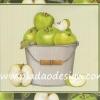 กระดาษสาพิมพ์ลาย สำหรับทำงาน เดคูพาจ Decoupage แนวภาำพ ภาพวาด แอปเปิ้ลสีเขียว ในถังสังกะสีสีเงิน (ปลาดาวดีไซน์)