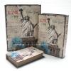 กล่องเก็บของทรงหนังสือแนววินเทจ 3 ใบชุด ลาย Love My New York เทพีเสรีภาพ