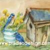 กระดาษสาพิมพ์ลาย สำหรับทำงาน เดคูพาจ Decoupage แนวภาำพ นกน้อยสีฟ้า 2 ตัว นั่งคุยกันอยู่บนบัวรดน้ำสังกะสีปลูกดอกไม้ หน้าบ้านนก สีสวยหวาน (ปลาดาวดีไซน์)