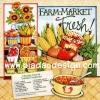 กระดาษสาพิมพ์ลาย สำหรับทำงาน เดคูพาจ Decoupage แนวภาำพ Farm Market Fresh ผัก ผลไม้ กับสูตรทำ chunky corn & tomato gazpacho สีสด (ปลาดาวดีไซน์)