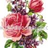 กระดาษสาพิมพ์ลาย สำหรับทำงาน เดคูพาจ Decoupage แนวภาำพ ภาพวาด ดอกกุหลาบกลีบซ้อนสีชมพูมะเหมี่ยว สวยมากมีดอกไม้สีม่วงแซม (ปลาดาวดีไซน์)
