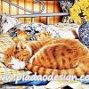 กระดาษสาพิมพ์ลาย สำหรับทำงาน เดคูพาจ Decoupage แนวภาำพ แมวน้อยจอมซนสีส้ม นอนหลับเอาแรงบนเตียงนุ่ม สบายจุงเบย