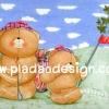 กระดาษสาพิมพ์ลาย สำหรับทำงาน เดคูพาจ Decoupage แนวภาำพ ภาพแนวการ์ตูน น้องหมี ฮอลล์มาร์ค Hallmarks bear 2 หมีพ่อ ลูก พากันไปตีกอล์ฟในวันฟ้าใส (ปลาดาวดีไซน์)