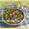 กระดาษสาพิมพ์ลาย สำหรับทำงาน เดคูพาจ Decoupage แนวภาำพ ภาพวาด สลัดสตอเบอร์รี่ strawberry สดๆจากไร่เราเอง น้ำสลัดเป็นน้ำมันมะกอก กินกับกาแฟร้อนๆ วางอยู่บนโต๊ะลายสก๊อต ให้บรรยากาศคันทรี่ country (ปลาดาวดีไซน์)