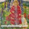 กระดาษสาพิมพ์ลาย สำหรับทำงาน เดคูพาจ Decoupage แนวภาำพ ภาพวาด สาวผมบลอนด์ในชุดแดงสดใสเจิดจ้า อยู่ในสวนดอกไม้กับแมวตัวสูง