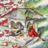 กระดาษอาร์ตพิมพ์ลาย สำหรับทำงาน เดคูพาจ Decoupage แนวภาำพ นกน้อยสีเทา 2 ตัว ยืนรับแขกนกน้อยสีแดงสดใส หน้าบ้านนกแบบเปิดฝาผนัง เป็นภาพวาดสีสวยคลาสสิค (ปลาดาวดีไซน์)