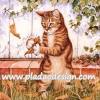 กระดาษสาพิมพ์ลาย สำหรับทำงาน เดคูพาจ Decoupage แนวภาำพ แมวทองลายเสือนั่ง 2 ขา อีก 2 มือถือใบไม้เล่น