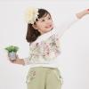 Huanzhu kids ชุดเซตเด็กหญิง 2 ชิ้น เสื้อสีขาวแต่งระบายที่อก+ กางเกงสีน้ำตาลแต่งระบายที่กระเป๋า ผ้าเนื้อดีน่ารักสไตล์เกาหลี