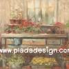 กระดาษสาพิมพ์ลาย สำหรับทำงาน เดคูพาจ Decoupage แนวภาำพ บ้านและสวน ตู้ไม้เก่าประดับไปด้วยดอกไม้หวานๆหลากสีสัน เป็นสไตล์ภาพวาดสีฟุ้งๆ สวยมาก (ปลาดาวดีไซน์)