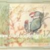 กระดาษสาพิมพ์ลาย สำหรับทำงาน เดคูพาจ Decoupage แนวภาำพ ภาพวาดสีหวาน ปูน้อยขาเก เดินไปเดินมาเป็นปกโปสการ์ดเก๋ๆ (ปลาดาวดีไซน์)