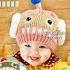 หมวกไหมพรม ตกแต่งคลายใส่ซาวเบ้าท์ สีชมพู น่ารักสไตล์เกาหลี มี7 สี