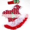 ชุดเดรสเด็กหญิง สีแดงลายจุดขาวตกแต่งด้วยลายต้นคริสต์มาส ผ้าเนื้อดี +ที่คาดผม น่ารักสไตล์เกาหลี