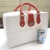 ชิ้นงานดิบ พลาสติกสาน ทำ Decoupage งานเพนท์ กระเป๋าเดินทาง ขนาดกลาง สีขาว หูหนัง สีแดง M